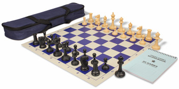 Deluxe Club Carry-All Chess Set Package Black & Camel Pieces - Blue