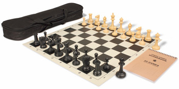 Deluxe Club Carry-All Chess Set Package Black & Camel Pieces - Black