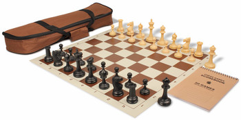 Deluxe Club Carry-All Chess Set Package Black & Camel Pieces - Brown