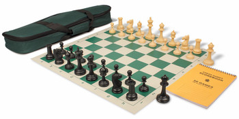 Deluxe Club Carry-All Chess Set Package Black & Camel Pieces - Green