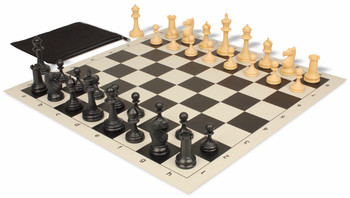 Deluxe Club Classroom Chess Set Package Black & Camel Pieces - Black