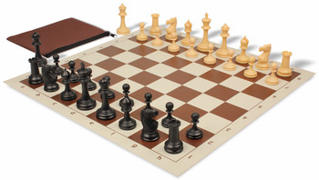 Deluxe Club Classroom Chess Set Package Black & Camel Pieces - Brown