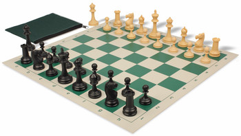 Deluxe Club Classroom Chess Set Package Black & Camel Pieces - Green