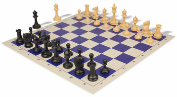 Deluxe Club Plastic Chess Set & Board with Black & Camel Pieces - Blue