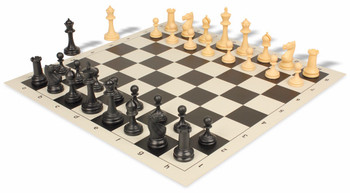Deluxe Club Plastic Chess Set & Board with Black & Camel Pieces - Black