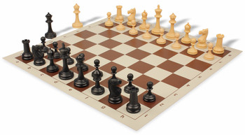 Deluxe Club Plastic Chess Set & Board with Black & Camel Pieces - Brown
