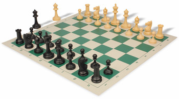 Deluxe Club Plastic Chess Set & Board with Black & Camel Pieces - Green