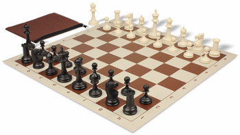 Deluxe Club Classroom Chess Set Package Black & Ivory Pieces - Brown