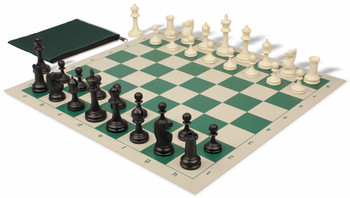 Deluxe Club Classroom Chess Set Package Black & Ivory Pieces - Green