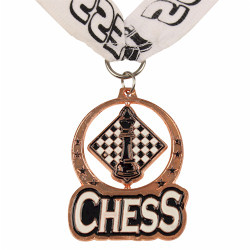 Chess Spin Medal Award with Ribbon - Bronze