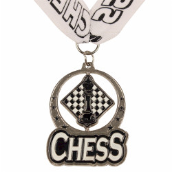 Chess Spin Medal Award with Ribbon - Silver