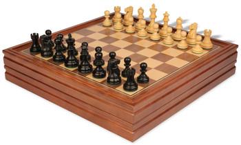 "Deluxe Old Club Staunton Chess Set in Ebonized Boxwood with Walnut Chess & Backgammon Case - 3.25"" King"