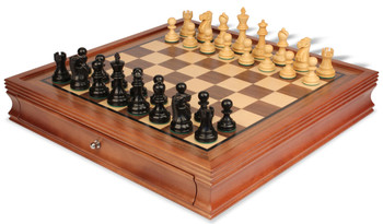 """Deluxe Old Club Staunton Chess Set in Ebonized Boxwood with Walnut Chess Case - 3.25"""" King"""