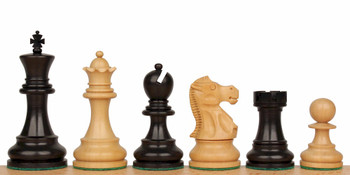 "Deluxe Old Club Staunton Chess Set in Ebonized Boxwood & Boxwood - 3.75"" King"