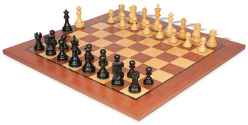 "Deluxe Old Club Staunton Chess Set Ebonized & Boxwood Pieces with Classic Mahogany Chess Board - 3.75"" King"