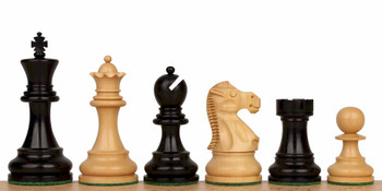 "Deluxe Old Club Staunton Chess Set in Ebony & Boxwood - 3.25"" King"