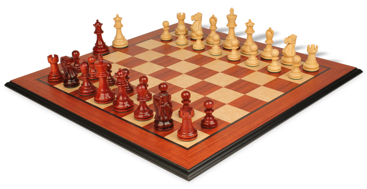 Deluxe old club staunton chess set in african padauk boxwood with molded padauk chess board - Deluxe chess sets ...