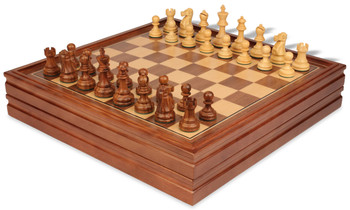 "Deluxe Old Club Staunton Chess Set in Golden Rosewood & Boxwood with Walnut Chess & Backgammon Case - 3.25"" King"