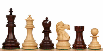 "Deluxe Old Club Staunton Chess Set in Rosewood & Boxwood - 3.75"" King"