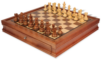 "Deluxe Old Club Staunton Chess Set in Golden Rosewood & Boxwood with Walnut Chess Case - 3.25"" King"