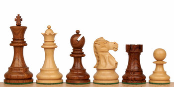 "Deluxe Old Club Staunton Chess Set in Golden Rosewood & Boxwood - 3.75"" King"