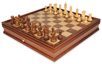 "Deluxe Old Club Staunton Chess Set in Golden Rosewood & Boxwood with Large Walnut Chess Case - 3.75"" King"