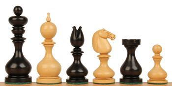 "Dublin Antique Reproduction Chess Set Ebony & Boxwood Pieces - 4"" King"