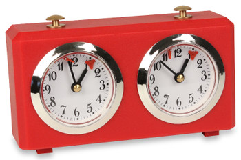 The Chess Store Club Special Wind-Up Analog Chess Clock - Red