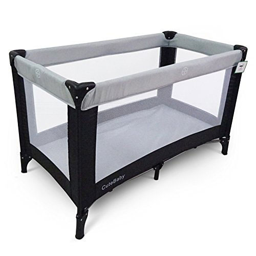 Cute Baby Travel Cot (120cm x 60cm) Grey