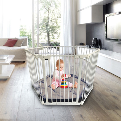Babylo Metal Playpen - White with Grey Mattress