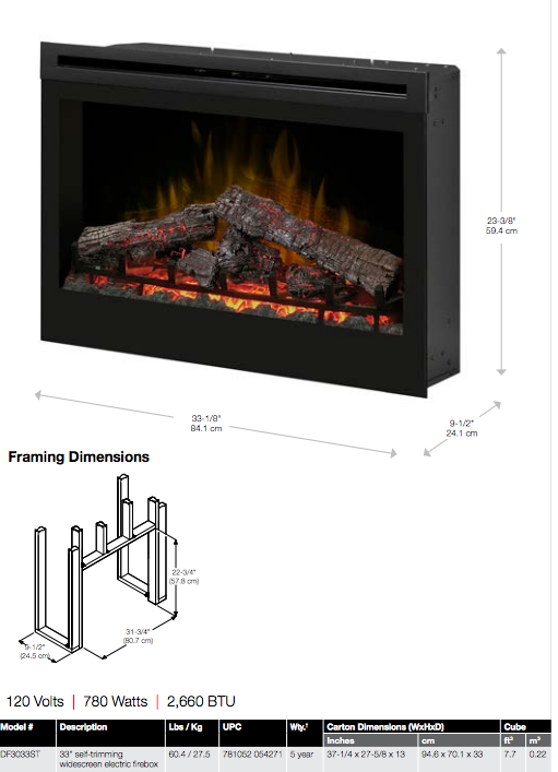 Tremendous Dimplex 33 Widescreen Firebox With Logs Home Interior And Landscaping Ologienasavecom