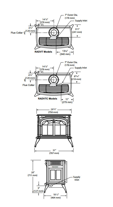 Vermont Castings Radiance Direct Vent Gas Stove W Total