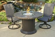 Outdoor Greatroom Marbleized Noche Colonial Dining Height Gas Fire Pit Table