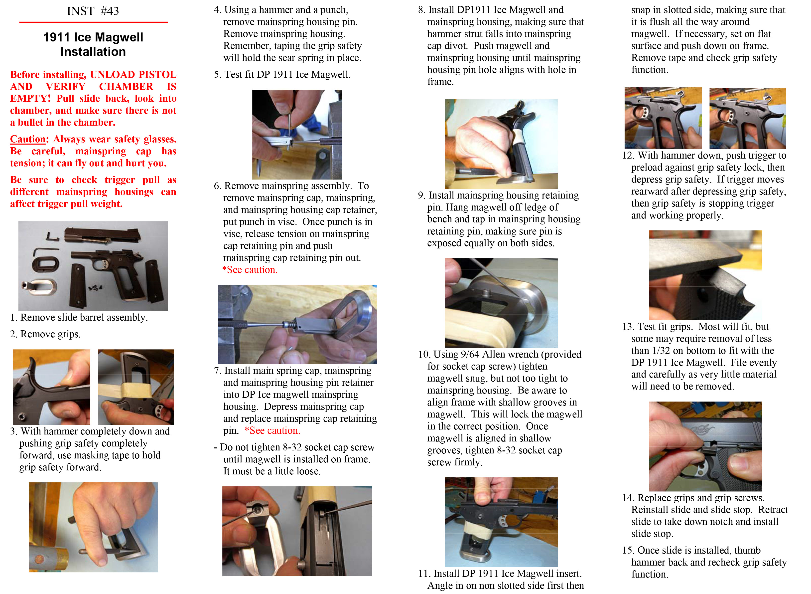 Instructions for DP Parts