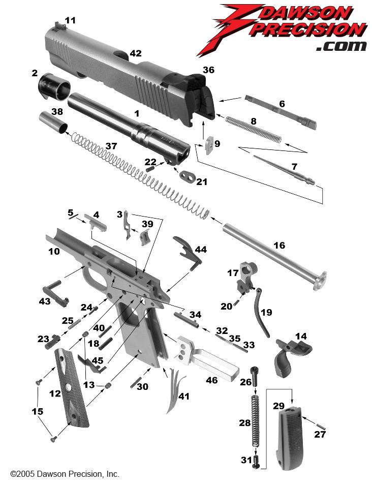 1911 exploded view rh dawsonprecision com colt 1911 exploded diagram 1911 exploded parts diagram