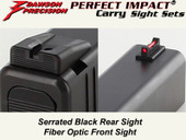 Dawson Precision Glock 42 Fixed Carry Sight Set - Black Rear & Fiber Optic Front