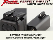 Dawson Precision Glock 42 Fixed Carry Sight Set - Tritium Rear & Tritium Front
