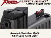 Dawson Precision HK VP9 Fixed Carry Sight Set - Black Rear & Fiber Optic Front