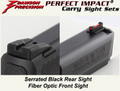 Dawson Precision S&W M&P Fixed Carry Sight Set - Black Rear & Fiber Optic Front