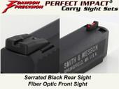 Dawson Precision S&W M&P .22 Fixed Carry Sight Set - Black Rear & Fiber Optic Front