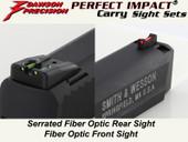 Dawson Precision S&W M&P .22 Fixed Carry Sight Set - Fiber Optic Rear & Fiber Optic Front