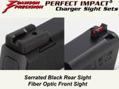 Dawson Precision S&W M&P Shield Fixed Charger Sight Set - Black Rear & Fiber Optic Front