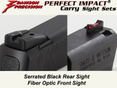 Dawson Precision S&W M&P Shield Fixed Carry Sight Set - Black Rear & Fiber Optic Front