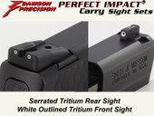 Dawson Precision S&W M&P Shield Fixed Carry Sight Set - Tritium Rear & Tritium Front