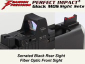 Dawson Precision Glock MOS Fixed Co-Witness Sight Set - Black Rear & Fiber Optic Front(For Trijicon RMR and similar scope bases)