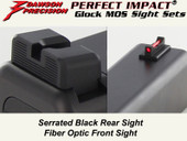 Dawson Precision Glock MOS Fixed Non Co-Witness Sight Set - Black Rear & Fiber Optic Front