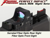 Dawson Precision Glock MOS Fixed Co-Witness Sight Set - Fiber Optic Rear & Fiber Optic Front(For Trijicon RMR and similar scope bases)