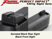 Dawson Precision S&W M&P .22 Compact Fixed Carry Sight Set - Black Rear & Black Front