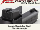 Dawson Precision S&W M&P .22 Compact Suppressor Height Fixed Carry Sight Set - Black Rear & Black Front