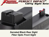 Dawson Precision S&W M&P .22 Compact Suppressor Height Fixed Carry Sight Set - Black Rear & Fiber Optic Front